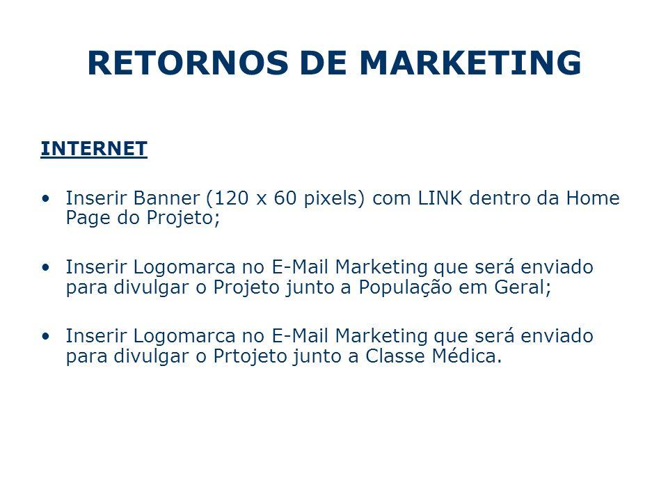 RETORNOS DE MARKETING INTERNET Inserir Banner (120 x 60 pixels) com LINK dentro da Home Page do Projeto; Inserir Logomarca no E-Mail Marketing que ser