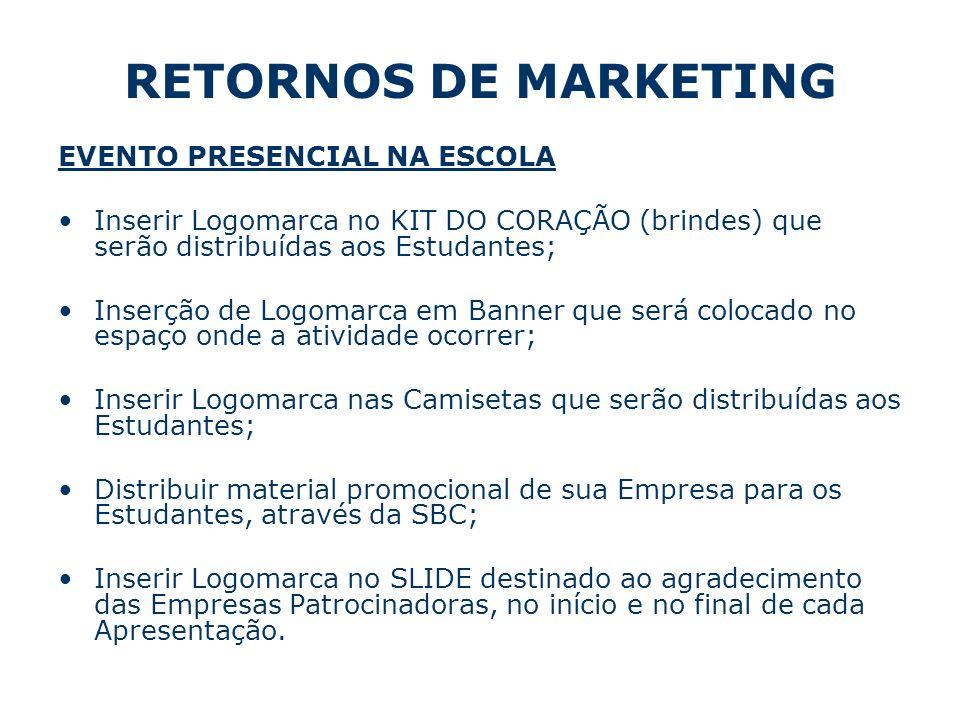 RETORNOS DE MARKETING EVENTO PRESENCIAL NA ESCOLA Inserir Logomarca no KIT DO CORAÇÃO (brindes) que serão distribuídas aos Estudantes; Inserção de Log