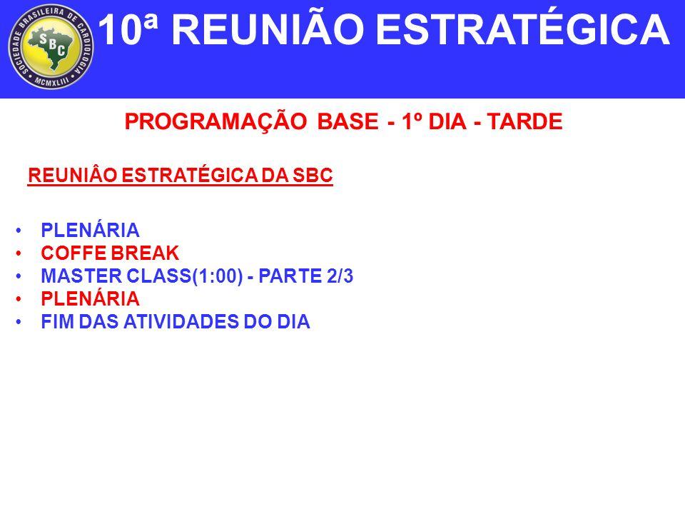 PROGRAMAÇÃO BASE - 1º DIA - TARDE PLENÁRIA COFFE BREAK MASTER CLASS(1:00) - PARTE 2/3 PLENÁRIA FIM DAS ATIVIDADES DO DIA 10ª REUNIÃO ESTRATÉGICA REUNIÂO ESTRATÉGICA DA SBC