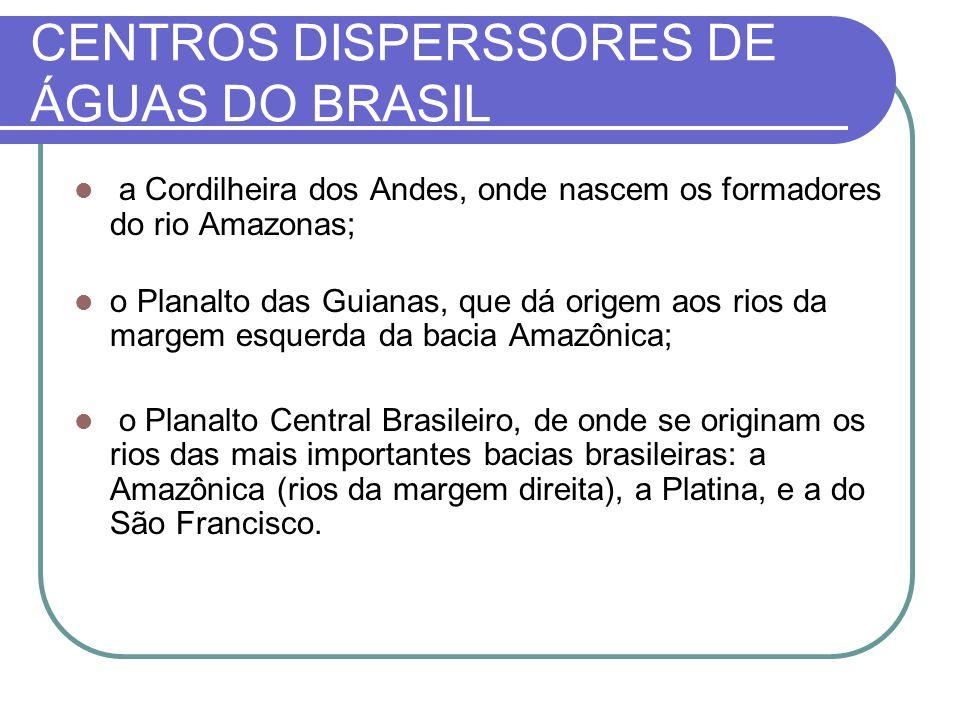 CENTROS DISPERSSORES DE ÁGUAS DO BRASIL a Cordilheira dos Andes, onde nascem os formadores do rio Amazonas; o Planalto das Guianas, que dá origem aos