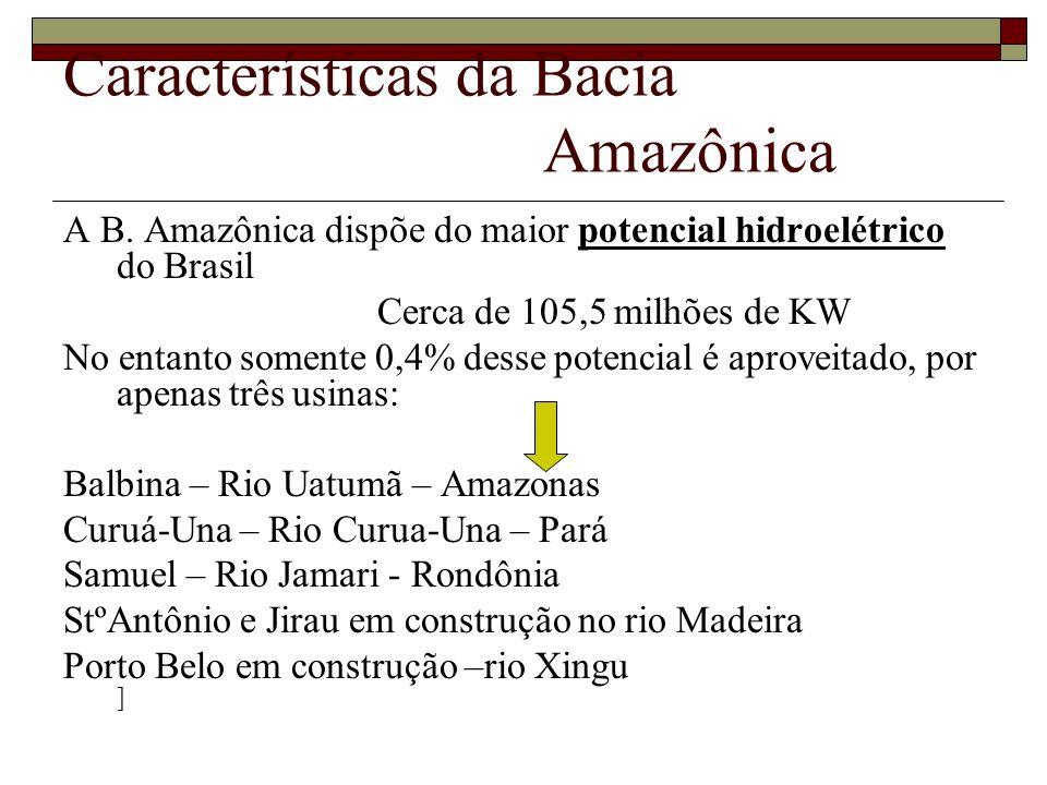 Características da Bacia Amazônica A B. Amazônica dispõe do maior potencial hidroelétrico do Brasil Cerca de 105,5 milhões de KW No entanto somente 0,