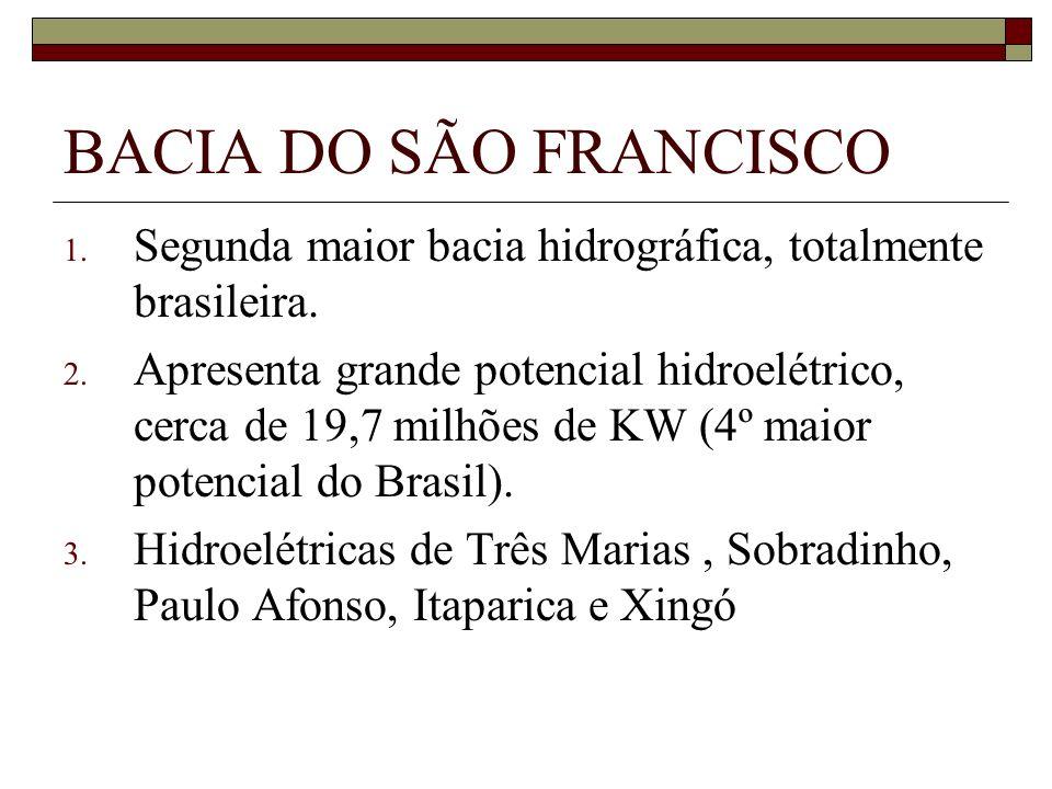 BACIA DO SÃO FRANCISCO 1. Segunda maior bacia hidrográfica, totalmente brasileira. 2. Apresenta grande potencial hidroelétrico, cerca de 19,7 milhões
