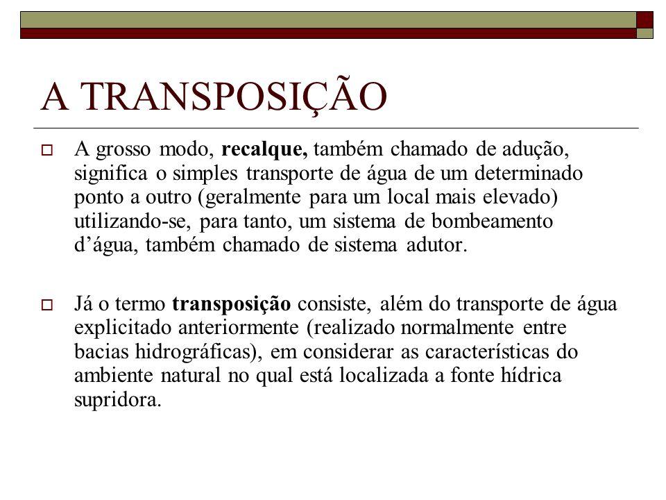 A TRANSPOSIÇÃO A grosso modo, recalque, também chamado de adução, significa o simples transporte de água de um determinado ponto a outro (geralmente p
