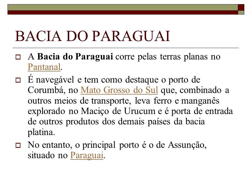 BACIA DO PARAGUAI A Bacia do Paraguai corre pelas terras planas no Pantanal. Pantanal É navegável e tem como destaque o porto de Corumbá, no Mato Gros