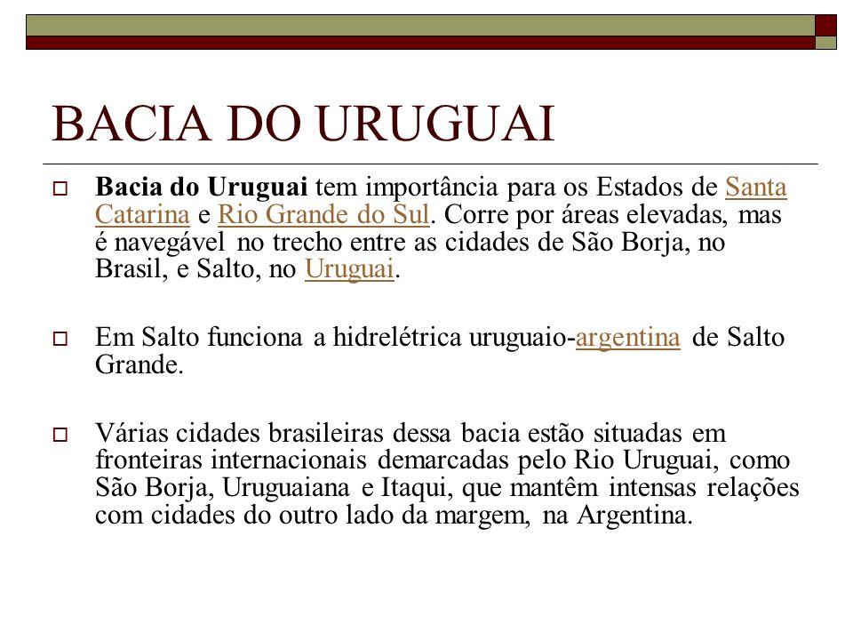 BACIA DO URUGUAI Bacia do Uruguai tem importância para os Estados de Santa Catarina e Rio Grande do Sul. Corre por áreas elevadas, mas é navegável no