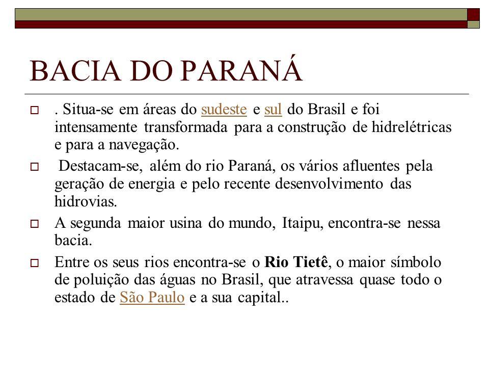 BACIA DO PARANÁ. Situa-se em áreas do sudeste e sul do Brasil e foi intensamente transformada para a construção de hidrelétricas e para a navegação.su