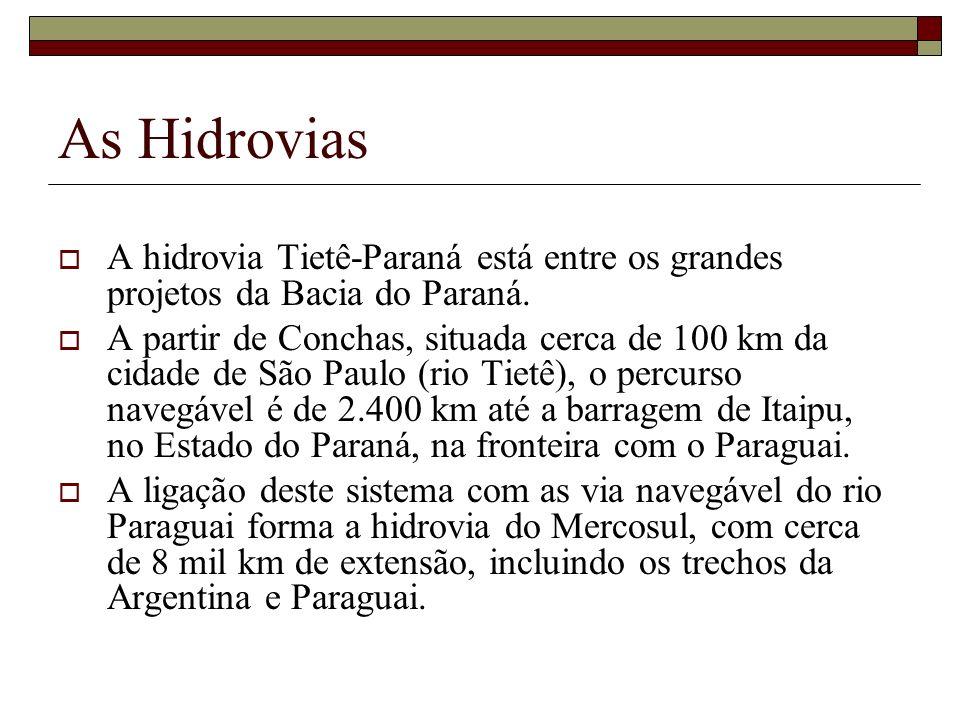 As Hidrovias A hidrovia Tietê-Paraná está entre os grandes projetos da Bacia do Paraná. A partir de Conchas, situada cerca de 100 km da cidade de São