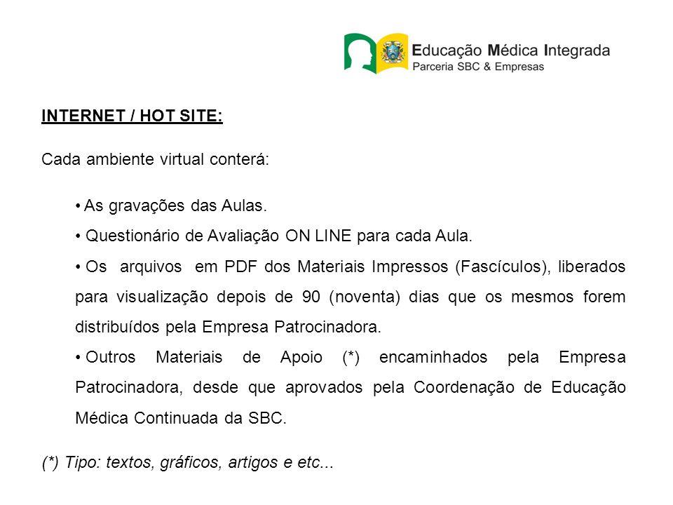 INTERNET / HOT SITE: Cada ambiente virtual conterá: As gravações das Aulas. Questionário de Avaliação ON LINE para cada Aula. Os arquivos em PDF dos M