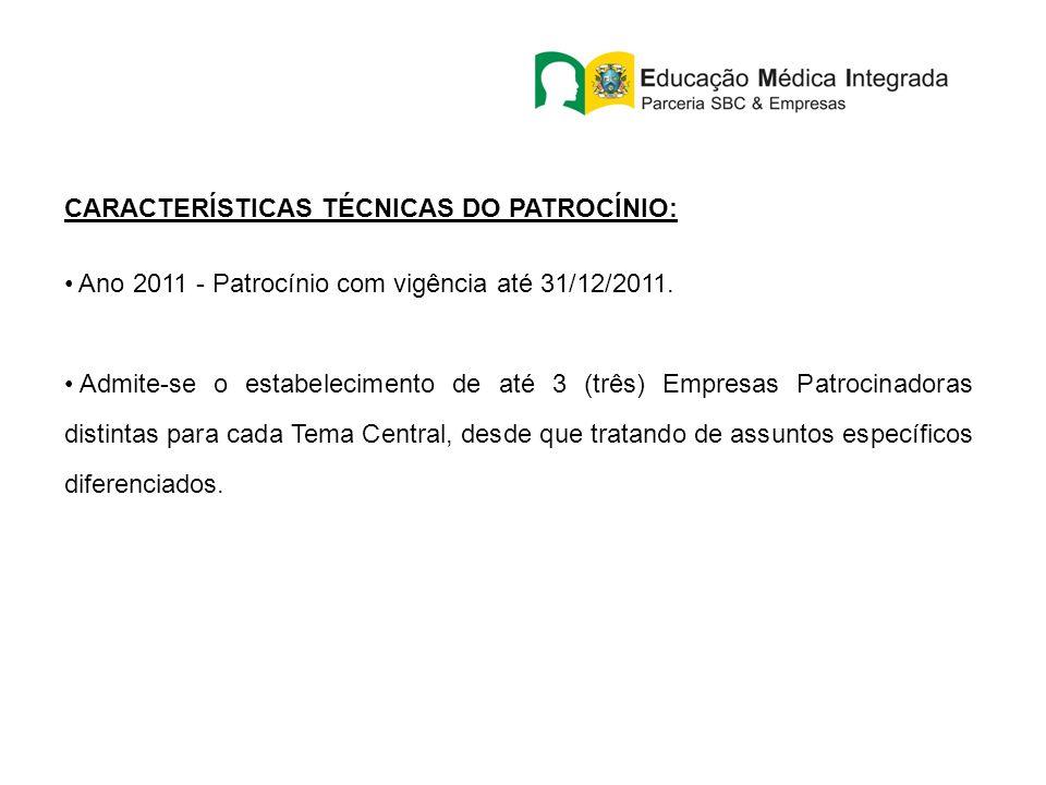 CARACTERÍSTICAS TÉCNICAS DO PATROCÍNIO: Ano 2011 - Patrocínio com vigência até 31/12/2011. Admite-se o estabelecimento de até 3 (três) Empresas Patroc