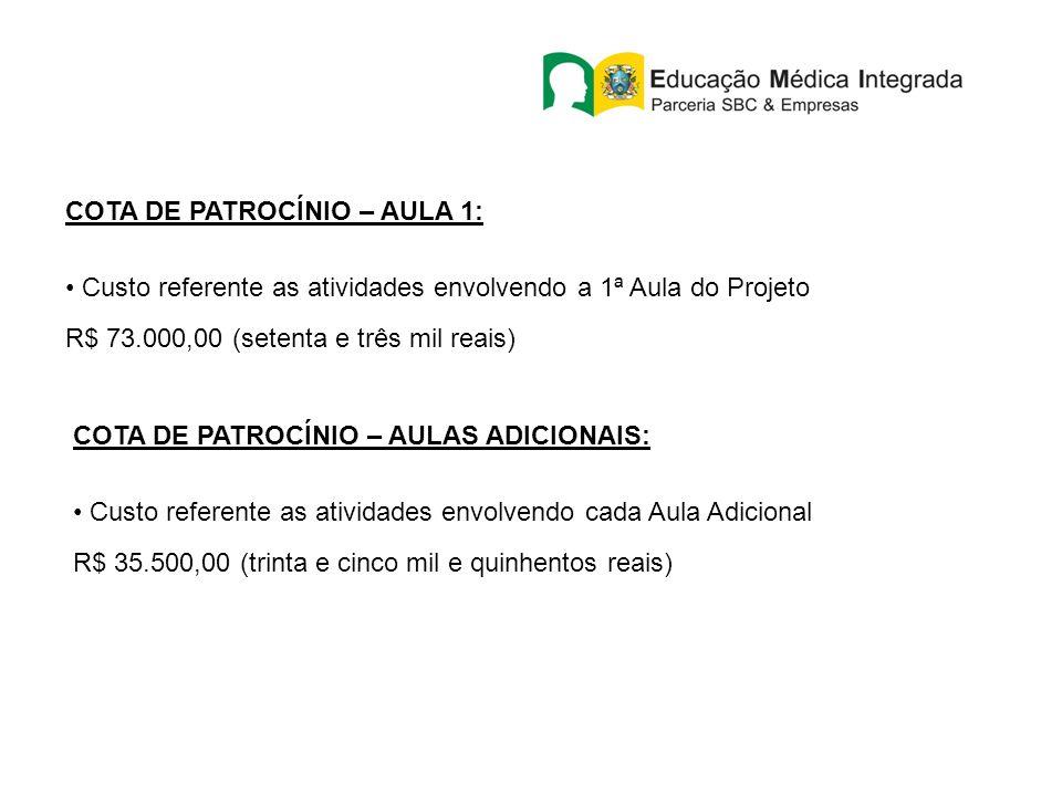 COTA DE PATROCÍNIO – AULA 1: Custo referente as atividades envolvendo a 1ª Aula do Projeto R$ 73.000,00 (setenta e três mil reais) COTA DE PATROCÍNIO