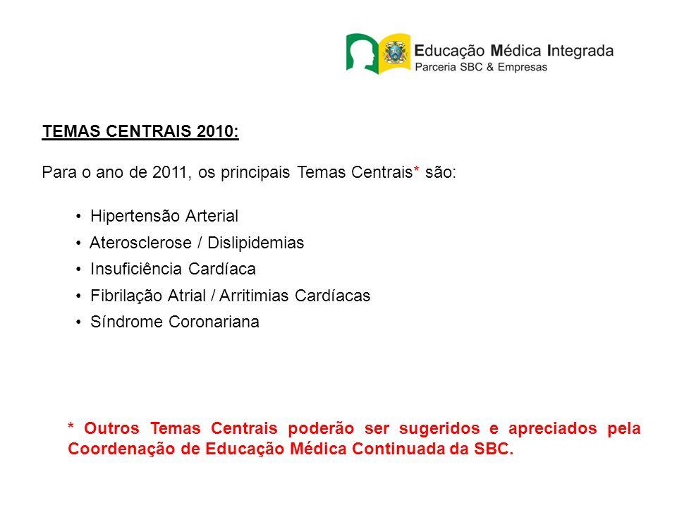TEMAS CENTRAIS 2010: Para o ano de 2011, os principais Temas Centrais* são: Hipertensão Arterial Aterosclerose / Dislipidemias Insuficiência Cardíaca