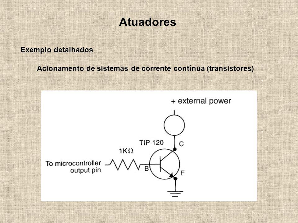 Atuadores Exemplo detalhados Acionamento de sistemas de corrente contínua (transistores)