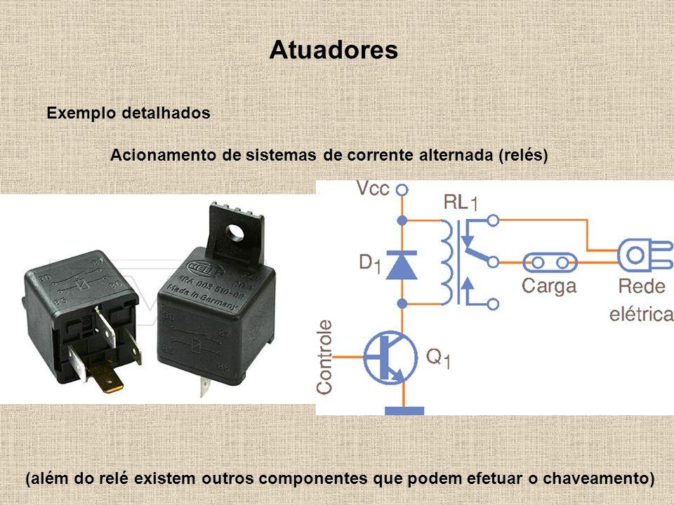 Atuadores Exemplo detalhados Acionamento de sistemas de corrente alternada (relés) (além do relé existem outros componentes que podem efetuar o chavea