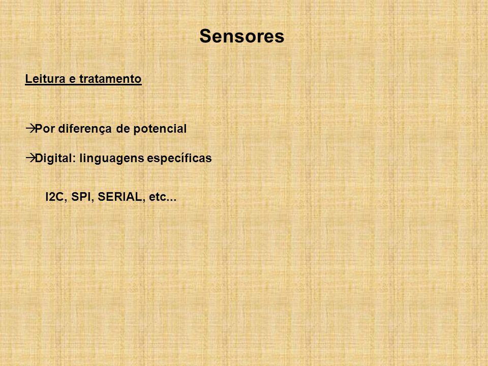 Sensores Leitura e tratamento Por diferença de potencial Digital: linguagens específicas I2C, SPI, SERIAL, etc...