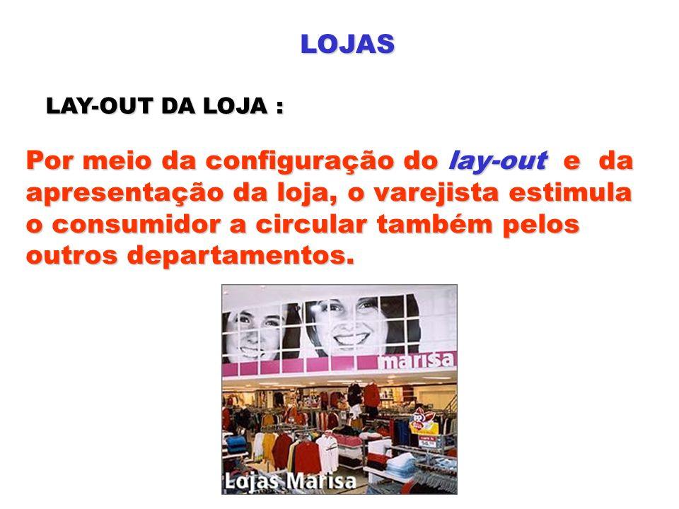 LOJAS LAY-OUT DA LOJA : Por meio da configuração do lay-out e da apresentação da loja, o varejista estimula o consumidor a circular também pelos outro