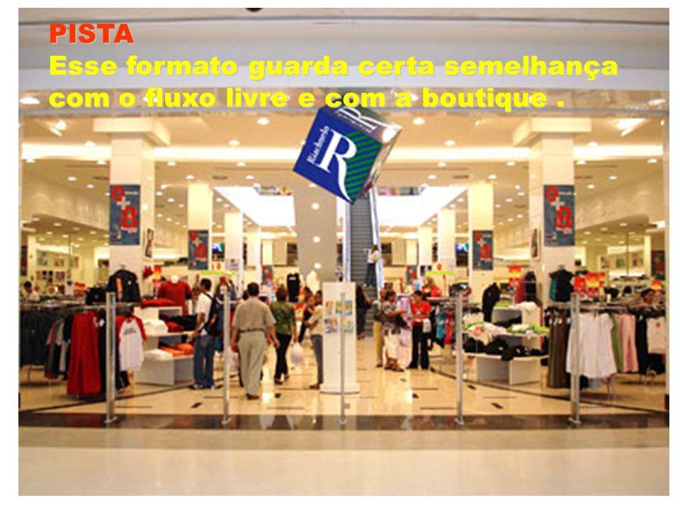 PISTA Esse formato guarda certa semelhança com o fluxo livre e com a boutique.