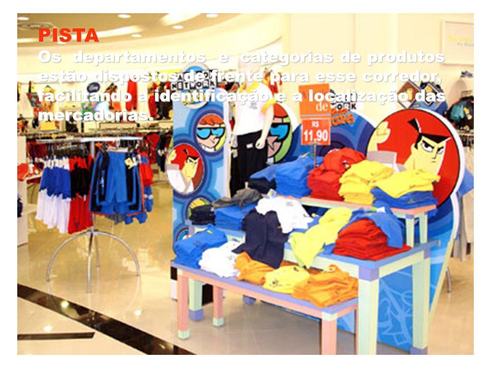 PISTA Os departamentos e categorias de produtos estão dispostos de frente para esse corredor, facilitando a identificação e a localização das mercador