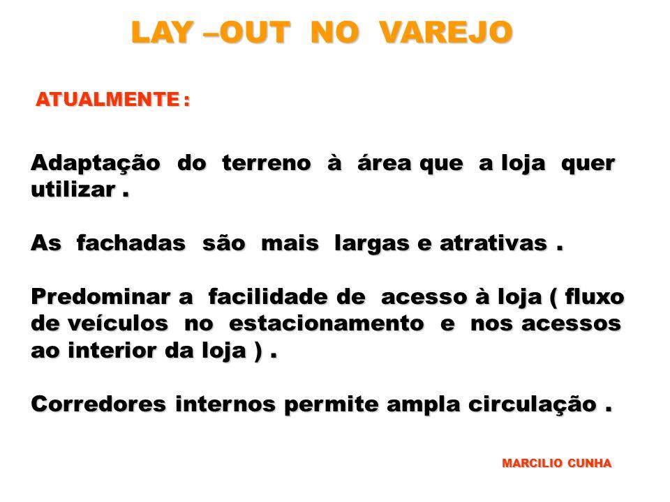 LAY –OUT NO VAREJO ATUALMENTE : Adaptação do terreno à área que a loja quer utilizar. As fachadas são mais largas e atrativas. Predominar a facilidade