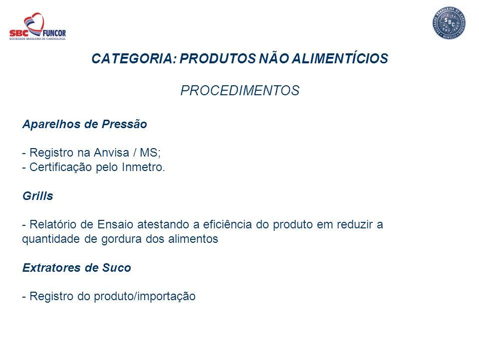 CATEGORIA: PRODUTOS NÃO ALIMENTÍCIOS PROCEDIMENTOS Aparelhos de Pressão - Registro na Anvisa / MS; - Certificação pelo Inmetro. Grills - Relatório de