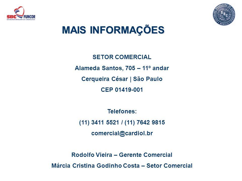 SETOR COMERCIAL Alameda Santos, 705 – 11º andar Cerqueira César | São Paulo CEP 01419-001 Telefones: (11) 3411 5521 / (11) 7642 9815 comercial@cardiol