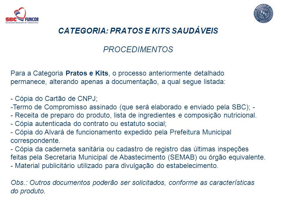 CATEGORIA: PRATOS E KITS SAUDÁVEIS PROCEDIMENTOS Para a Categoria Pratos e Kits, o processo anteriormente detalhado permanece, alterando apenas a docu