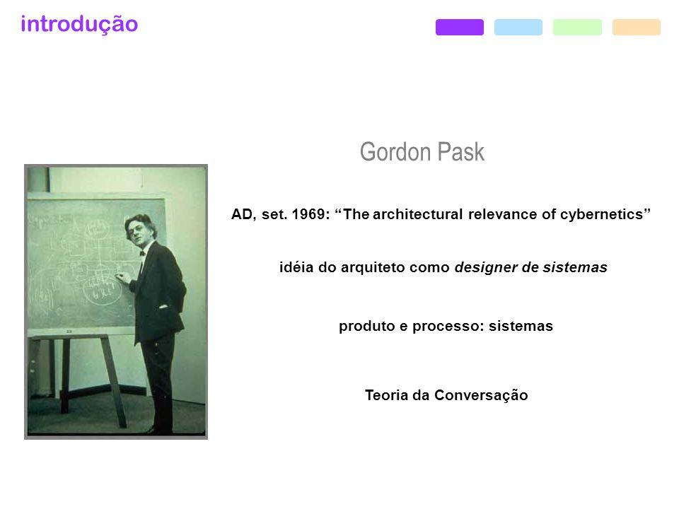 idéia do arquiteto como designer de sistemas produto e processo: sistemas Teoria da Conversação introdução Gordon Pask AD, set. 1969: The architectura