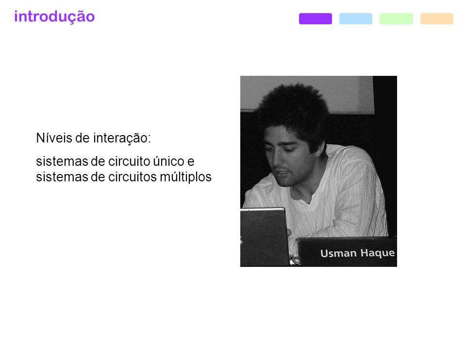 introdução usman haque + paul pangaro, paskian environments, 2006- Aplicação dos algoritmos de interação de projetos de Pask, em um ambiente dinâmico de larga escala.