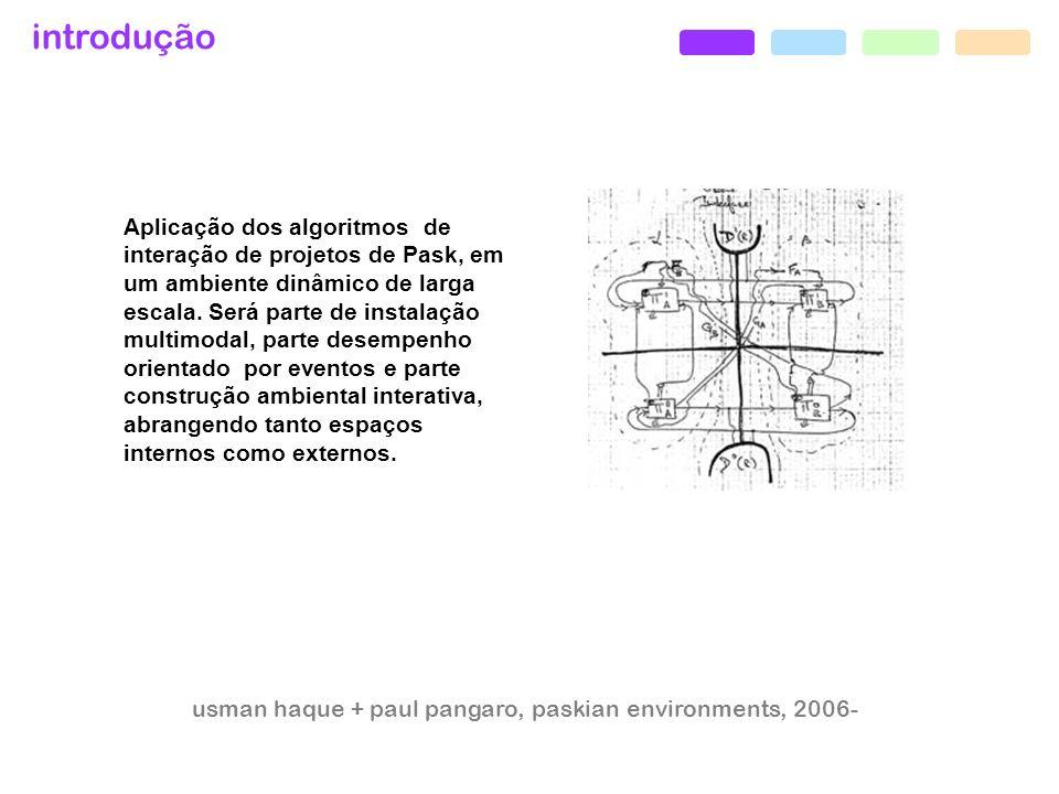 introdução usman haque + paul pangaro, paskian environments, 2006- Aplicação dos algoritmos de interação de projetos de Pask, em um ambiente dinâmico