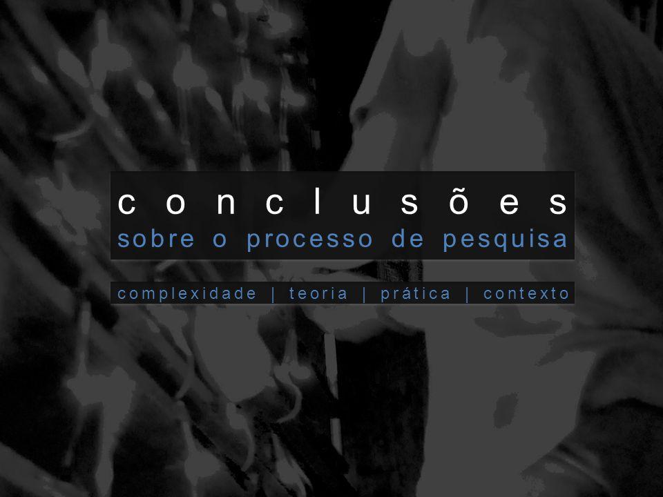 conclusões sobre o processo de pesquisa conclusões sobre o processo de pesquisa complexidade | teoria | prática | contexto