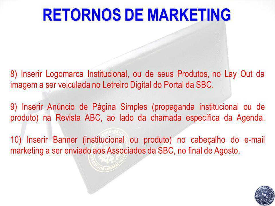RETORNOS DE MARKETING 8) Inserir Logomarca Institucional, ou de seus Produtos, no Lay Out da imagem a ser veiculada no Letreiro Digital do Portal da S