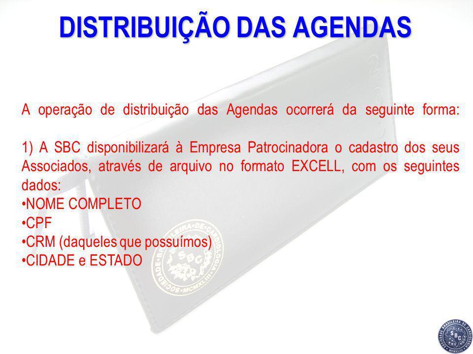 DISTRIBUIÇÃO DAS AGENDAS A operação de distribuição das Agendas ocorrerá da seguinte forma: 1) A SBC disponibilizará à Empresa Patrocinadora o cadastr
