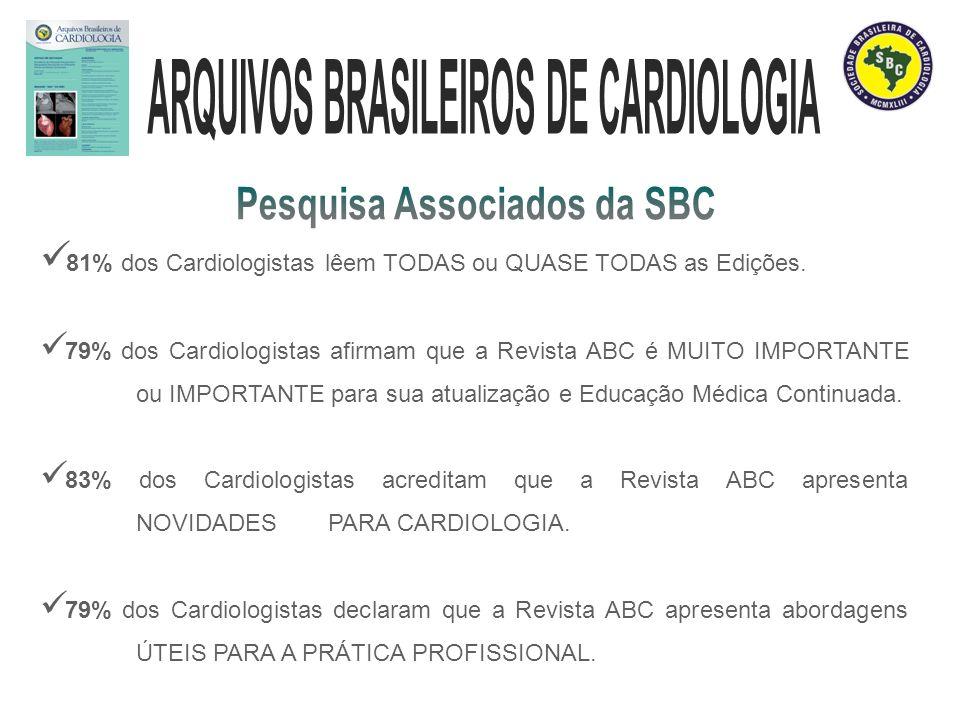 81% dos Cardiologistas lêem TODAS ou QUASE TODAS as Edições. 79% dos Cardiologistas afirmam que a Revista ABC é MUITO IMPORTANTE ou IMPORTANTE para su