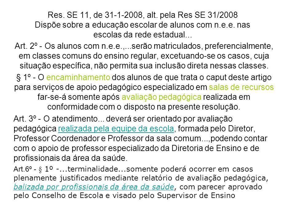 Res. SE 11, de 31-1-2008, alt. pela Res SE 31/2008 Dispõe sobre a educação escolar de alunos com n.e.e. nas escolas da rede estadual... Art. 2º - Os a