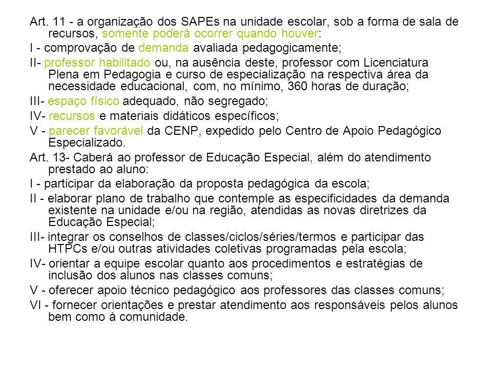 Art. 11 - a organização dos SAPEs na unidade escolar, sob a forma de sala de recursos, somente poderá ocorrer quando houver: I - comprovação de demand