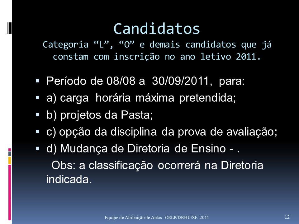 Candidatos Categoria L, O e demais candidatos que já constam com inscrição no ano letivo 2011. Período de 08/08 a 30/09/2011, para: a) carga horária m