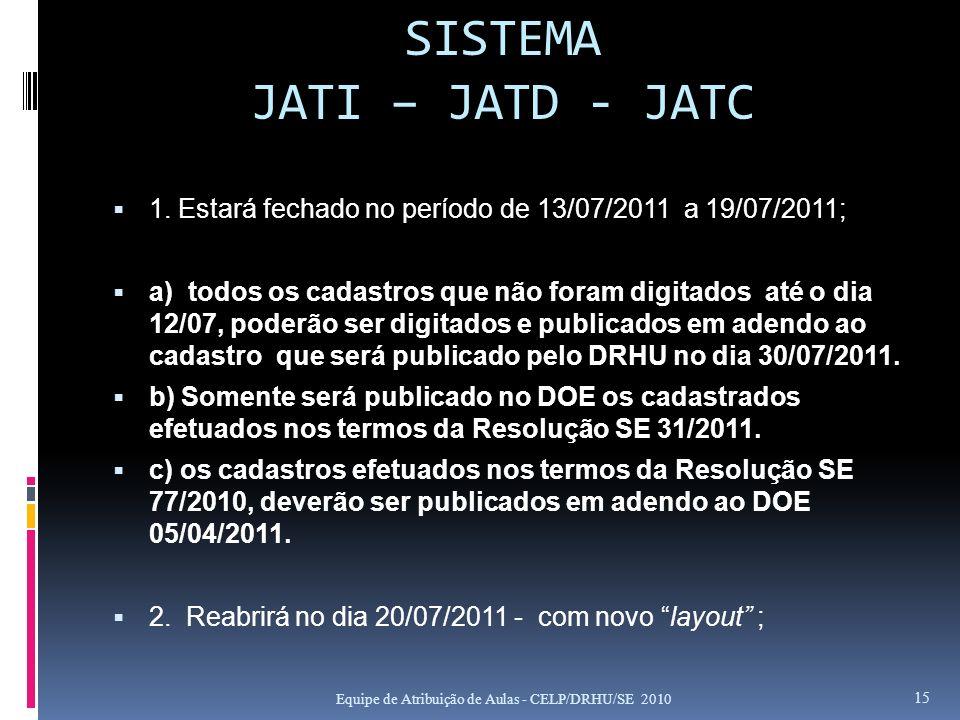 SISTEMA JATI – JATD - JATC 1. Estará fechado no período de 13/07/2011 a 19/07/2011; a) todos os cadastros que não foram digitados até o dia 12/07, pod