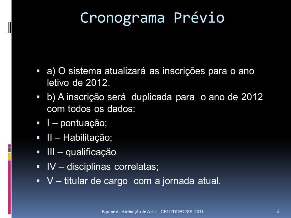 Cronograma Prévio a) O sistema atualizará as inscrições para o ano letivo de 2012. b) A inscrição será duplicada para o ano de 2012 com todos os dados