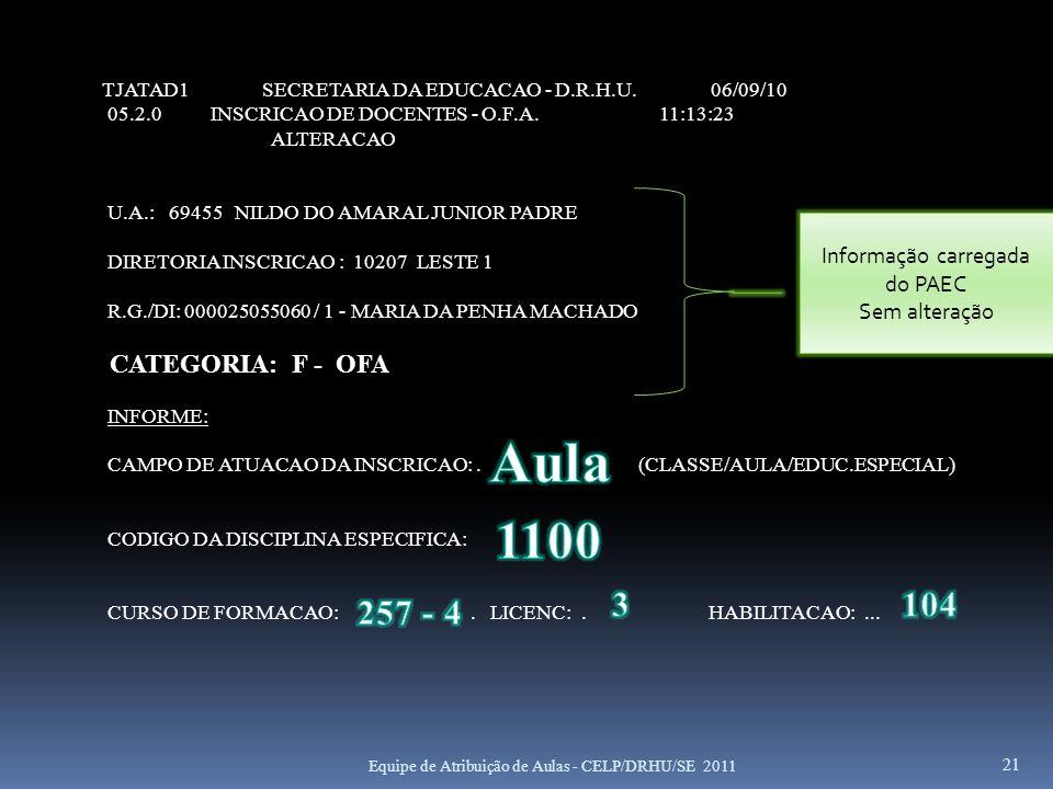 21 TJATAD1 SECRETARIA DA EDUCACAO - D.R.H.U. 06/09/10 05.2.0 INSCRICAO DE DOCENTES - O.F.A. 11:13:23 ALTERACAO U.A.: 69455 NILDO DO AMARAL JUNIOR PADR