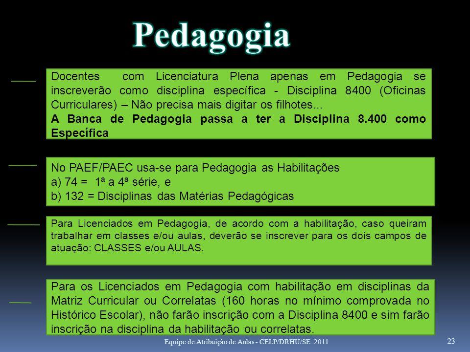 23 Docentes com Licenciatura Plena apenas em Pedagogia se inscreverão como disciplina específica - Disciplina 8400 (Oficinas Curriculares) – Não preci