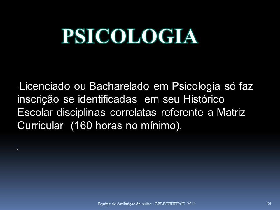24 - Licenciado ou Bacharelado em Psicologia só faz inscrição se identificadas em seu Histórico Escolar disciplinas correlatas referente a Matriz Curr
