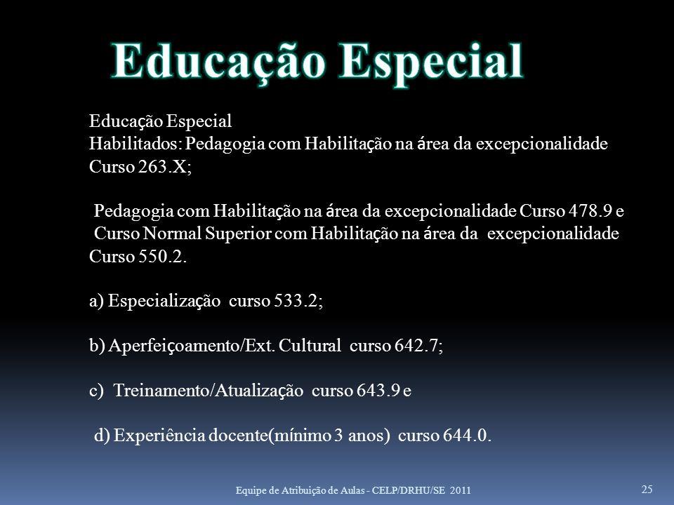 25 Educa ç ão Especial Habilitados: Pedagogia com Habilita ç ão na á rea da excepcionalidade Curso 263.X; Pedagogia com Habilita ç ão na á rea da exce
