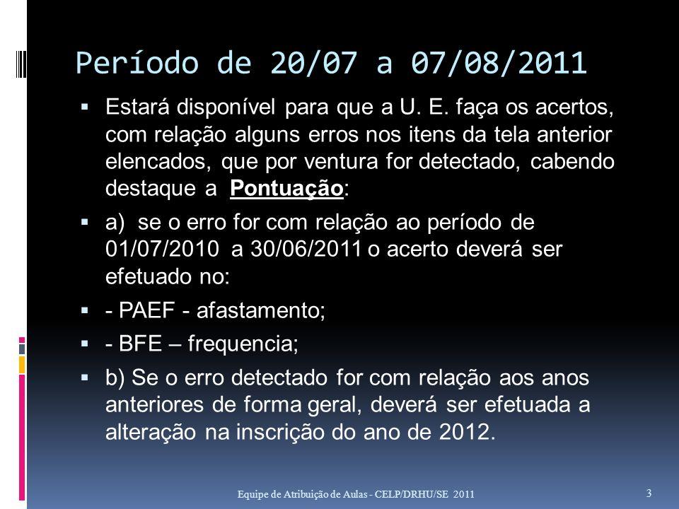 Período de 20/07 a 07/08/2011 Estará disponível para que a U. E. faça os acertos, com relação alguns erros nos itens da tela anterior elencados, que p