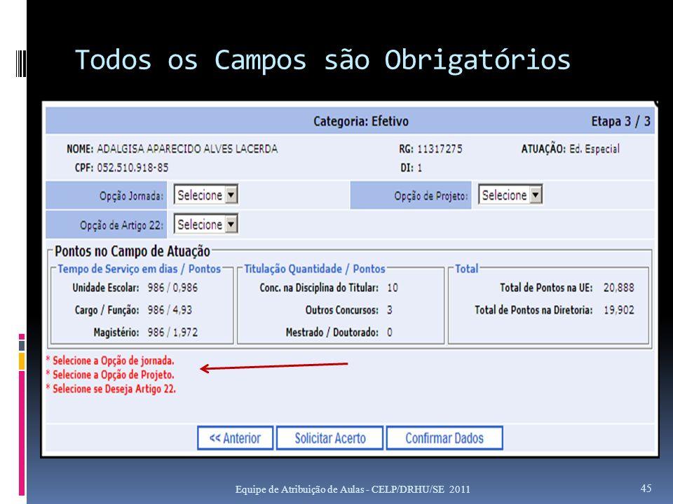 Todos os Campos são Obrigatórios Equipe de Atribuição de Aulas - CELP/DRHU/SE 2011 45