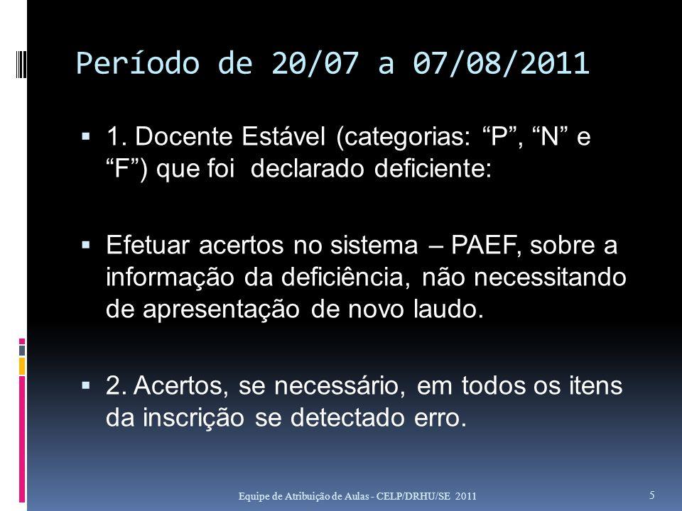 Período de 20/07 a 07/08/2011 1. Docente Estável (categorias: P, N e F) que foi declarado deficiente: Efetuar acertos no sistema – PAEF, sobre a infor