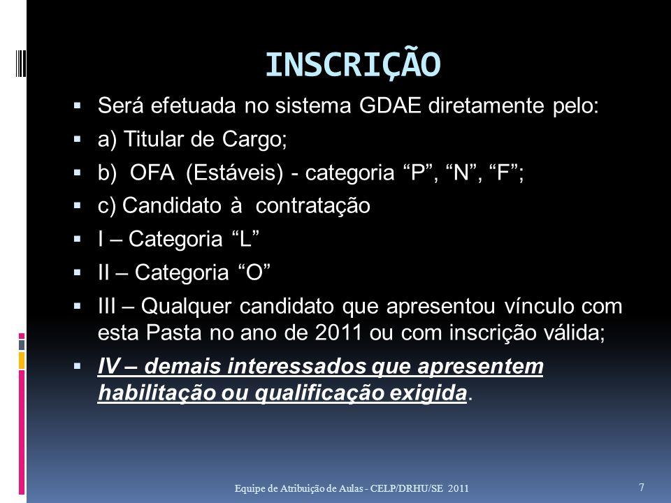 INSCRIÇÃO Será efetuada no sistema GDAE diretamente pelo: a) Titular de Cargo; b) OFA (Estáveis) - categoria P, N, F; c) Candidato à contratação I – C