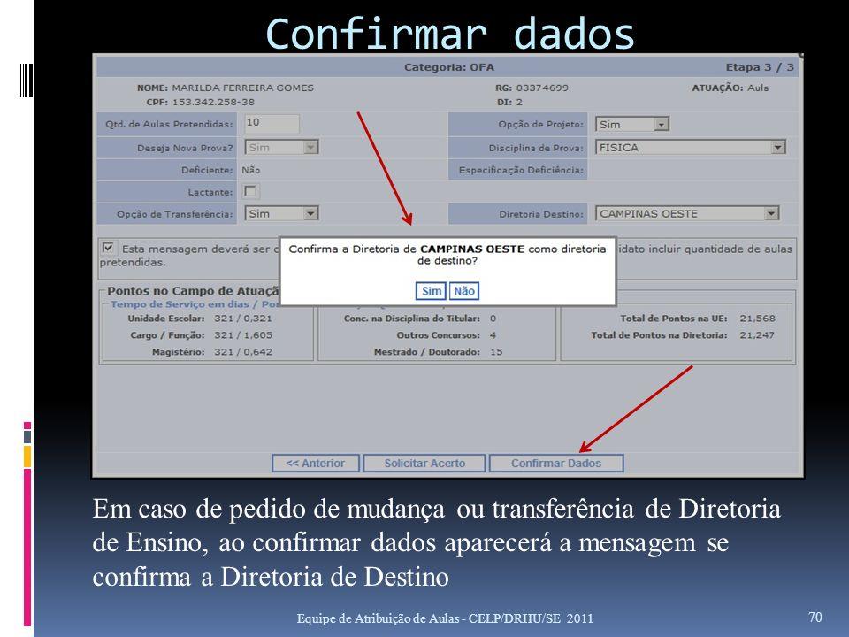 Confirmar dados Equipe de Atribuição de Aulas - CELP/DRHU/SE 2011 70 Em caso de pedido de mudança ou transferência de Diretoria de Ensino, ao confirma