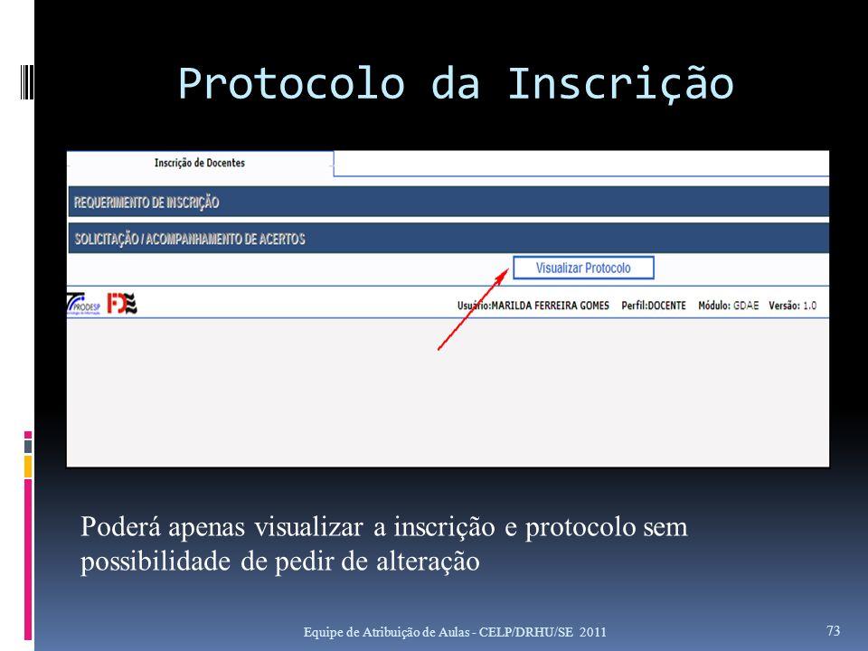Protocolo da Inscrição Equipe de Atribuição de Aulas - CELP/DRHU/SE 2011 73 Poderá apenas visualizar a inscrição e protocolo sem possibilidade de pedi