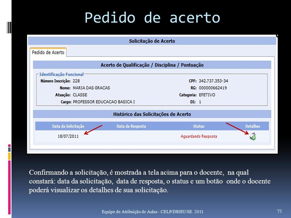 Pedido de acerto Equipe de Atribuição de Aulas - CELP/DRHU/SE 2011 75 Confirmando a solicitação, é mostrada a tela acima para o docente, na qual const