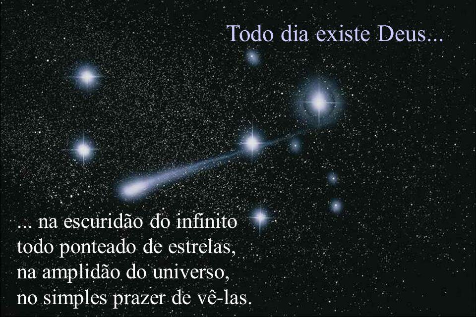 ... na escuridão do infinito todo ponteado de estrelas, na amplidão do universo, no simples prazer de vê-las. Todo dia existe Deus...