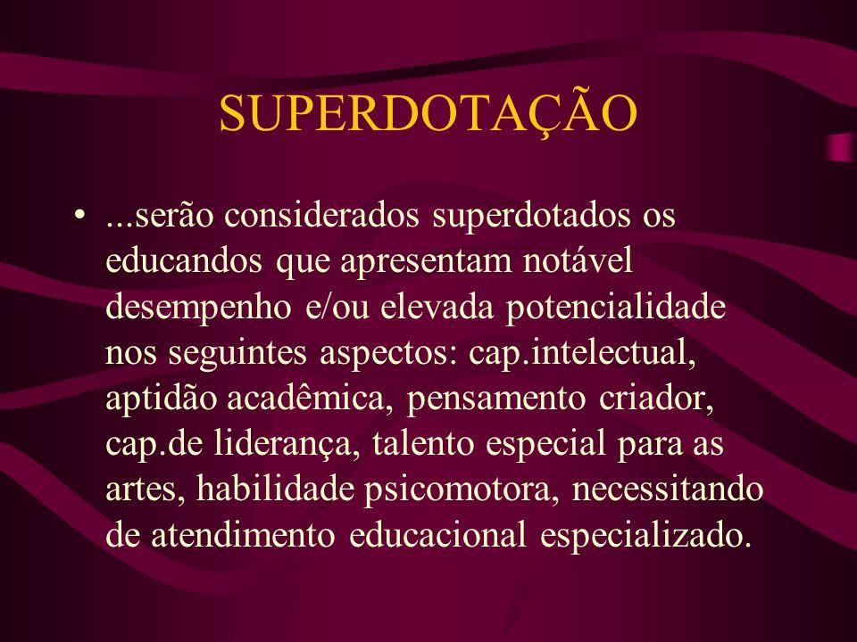 SUPERDOTAÇÃO...serão considerados superdotados os educandos que apresentam notável desempenho e/ou elevada potencialidade nos seguintes aspectos: cap.